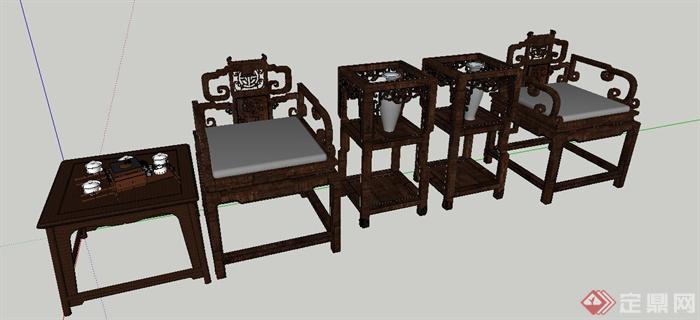 古典中式风格太师椅su模型(2)