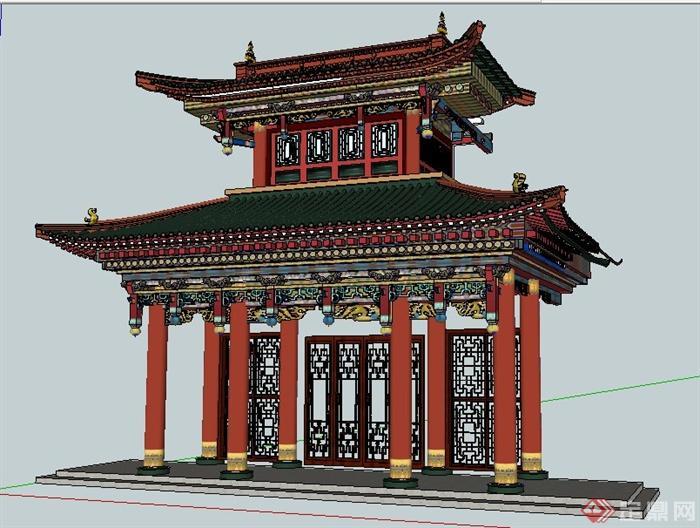 古典中式风格酒楼门楼设计su模型(2)图片