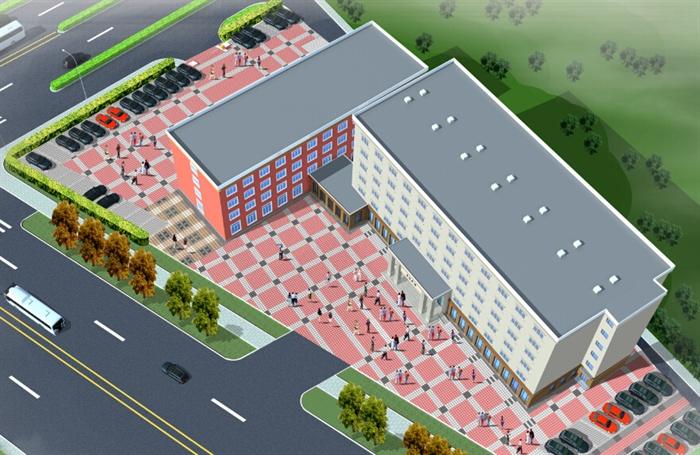 现代多层商务酒店建筑设计su模型(含效果图)