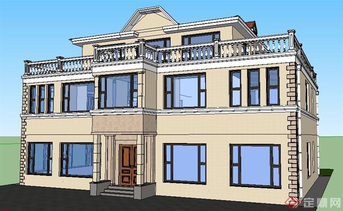 现代风格三层别墅建筑设计su模型 含效果图