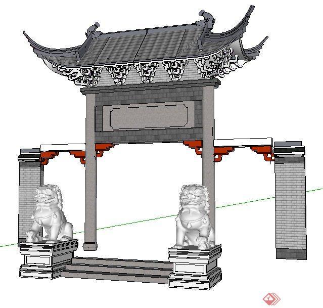 中式风格某民宅大门设计su模型