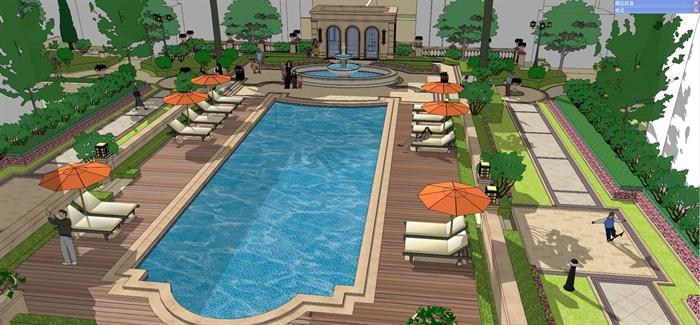 小区中庭道路景观设计SU模型图片