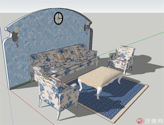 欧式田园沙发茶几及背景墙su模型