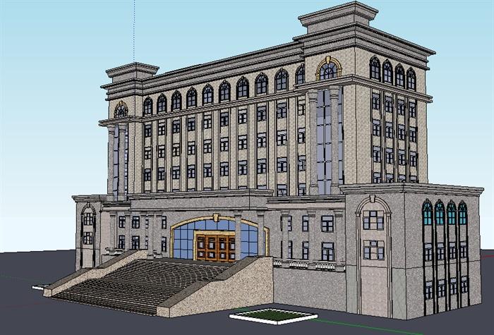 新古典風格小高層辦公樓建筑設計su模型,建筑外觀設計大氣,模型制作比較細致,但是建筑只帶有三面完整材質貼圖,色調搭配簡潔,具有一定參考價值。