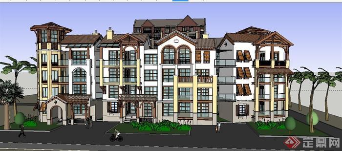 美式風格聯排多層及小高層住宅建筑設計su模型[原創]