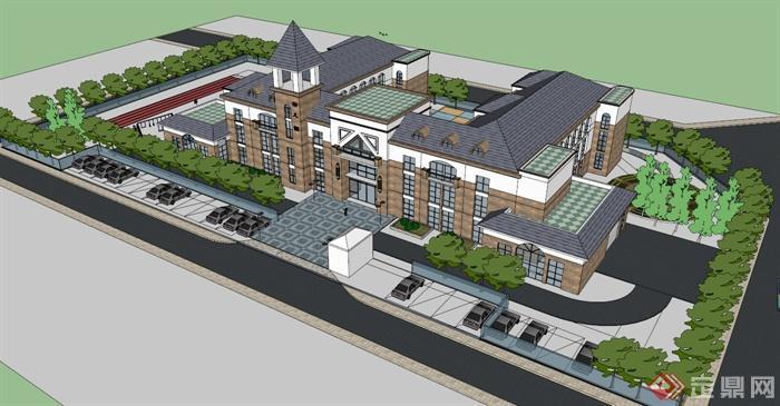 简欧式幼儿园建筑设计SU模型,带有周边场地的布置设计,造型独特大气,U形布局,风格突出,模型制作精细,具有一定的参考价值,有需要的朋友可自行下载。