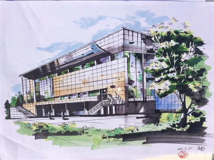 酒店建筑,建筑手绘图