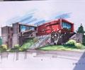 建筑手繪圖,手繪效果圖,辦公樓,辦公建筑