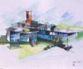 办公楼,建筑设计,手绘效果图,建筑手绘,办公楼手绘