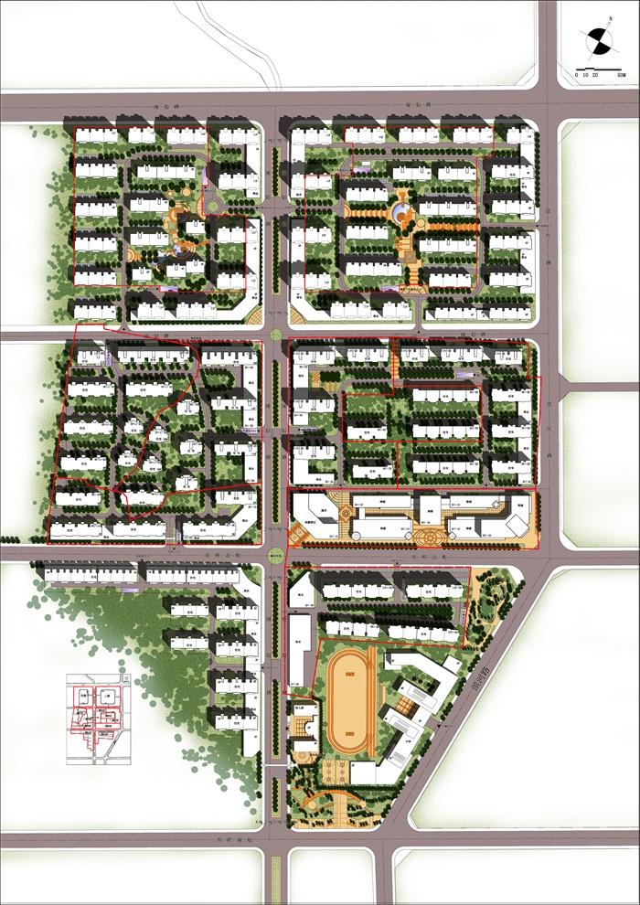 某居住小区规划设计总平面图