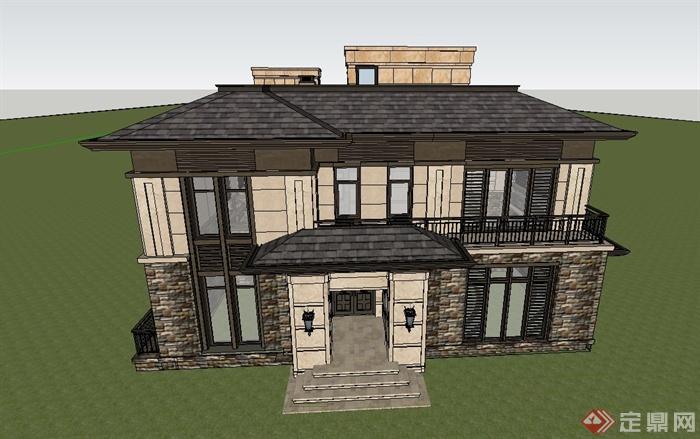 某两层双拼欧式风格住宅建筑设计su模型[原创]