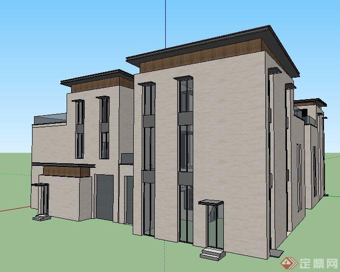 现代风格拼接三层小别墅建筑设计su模型图片