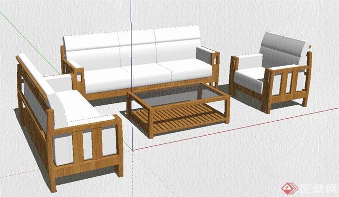 简约中式木制沙发茶几组合su模型