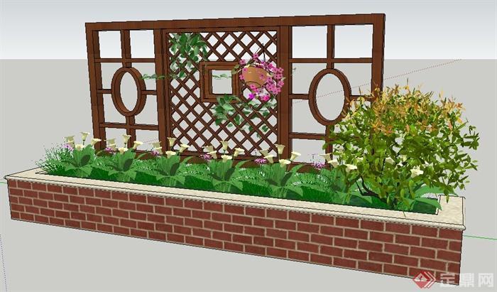 中式风格木花架及花池su模型(1)图片