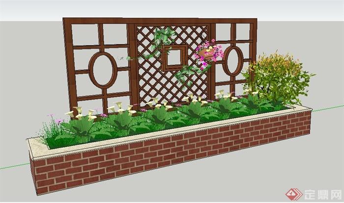 中式风格木花架及花池su模型(2)图片