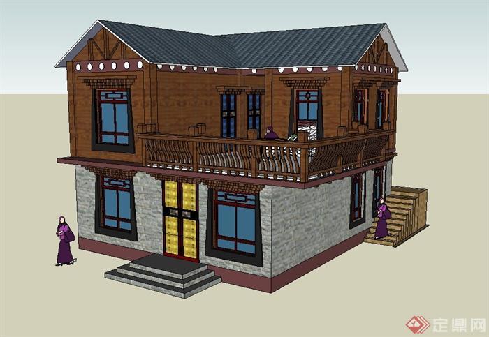 古典中式两层藏式居民住宅建筑设计su模型(1)