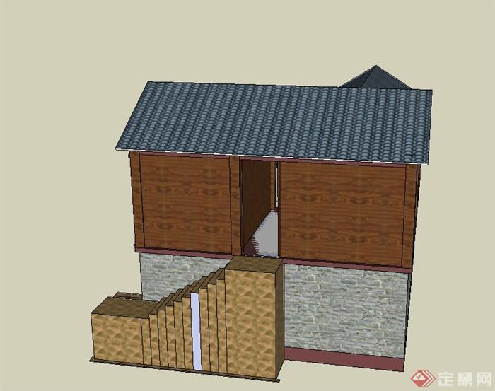 古典中式两层藏式居民住宅建筑设计su模型(3)