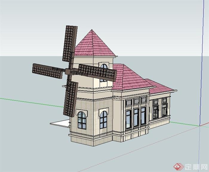 某欧式风格风车售卖亭建筑设计su模型