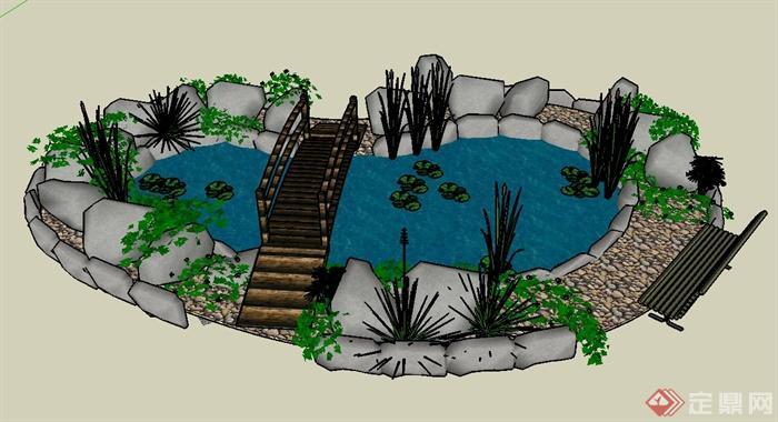 园林景观节点水体与园桥组合设计su模型(1)