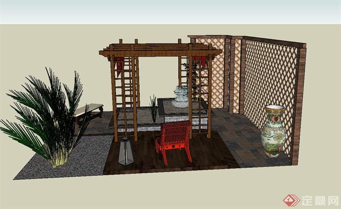 某庭院木廊架,木景墙,喷泉水景等组合设计su模型(1)图片