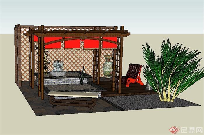 某庭院木廊架,木景墙,喷泉水景等组合设计su模型(2)图片