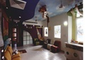 教室,活动室,坐凳,储物柜,吊灯,地砖