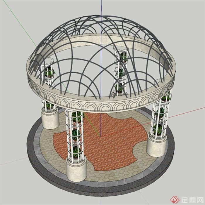 欧式特色圆顶亭设计su模型(1)