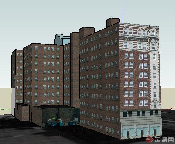 欧式风格小高层酒店建筑设计su模型