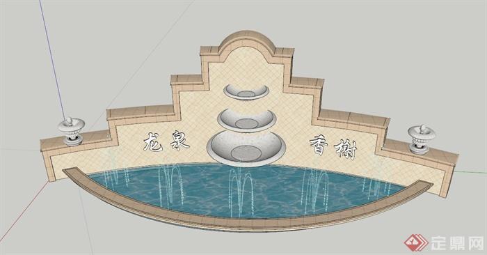 欧式水晶标志墙设计su模型