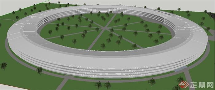 现代圆环形办公中心建筑设计su模型(2)