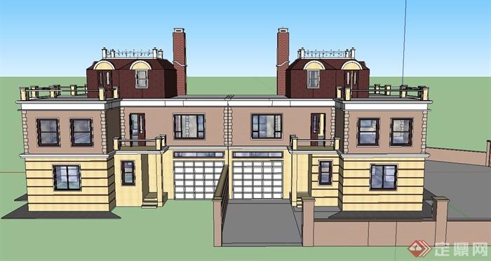 某新古典两层连排别墅建筑设计su模型(1)