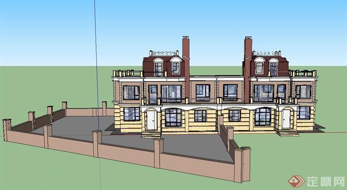 某新古典两层连排别墅建筑设计SU模型
