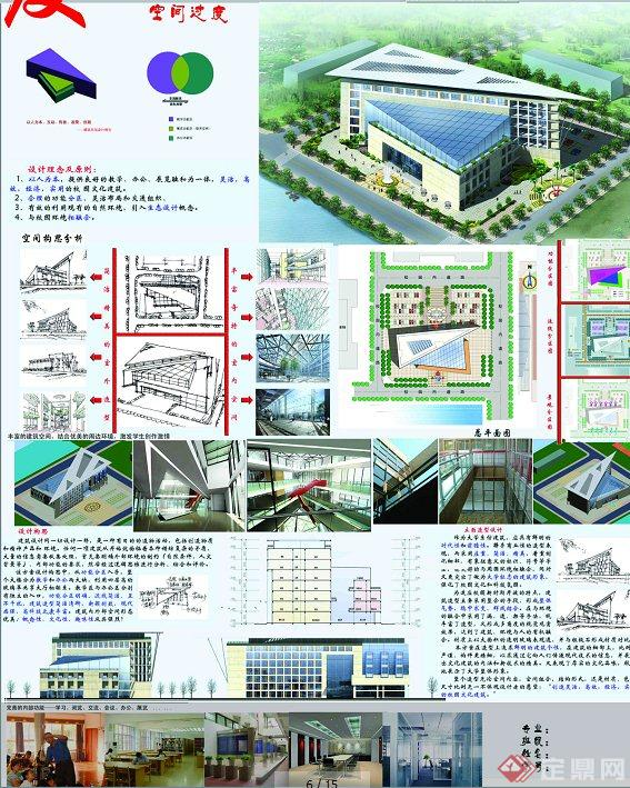 某高校建筑系馆建筑设计(cad平立剖+psd展板