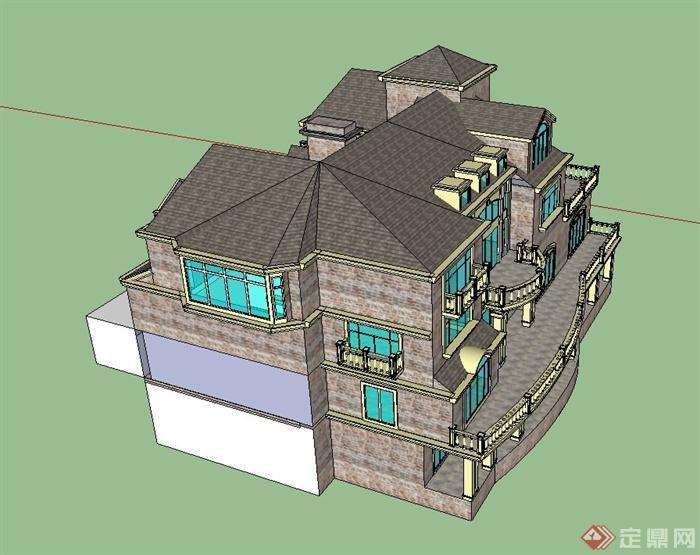 某欧式风格三层带阳台别墅建筑设计su模型[原创]