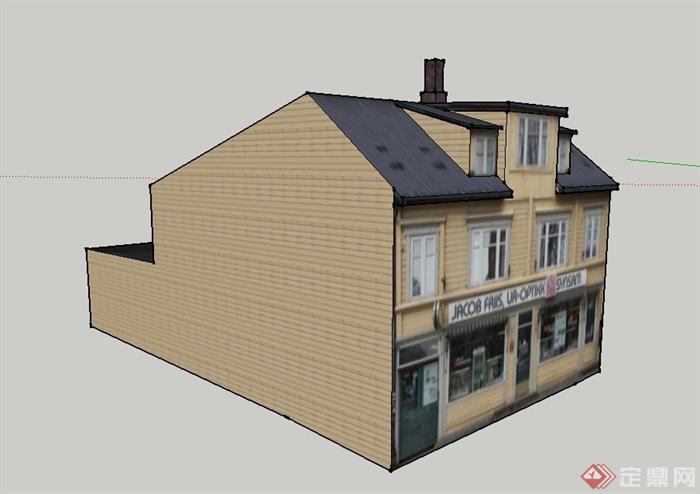 某欧式两层阁楼式商铺建筑设计su模型(3)