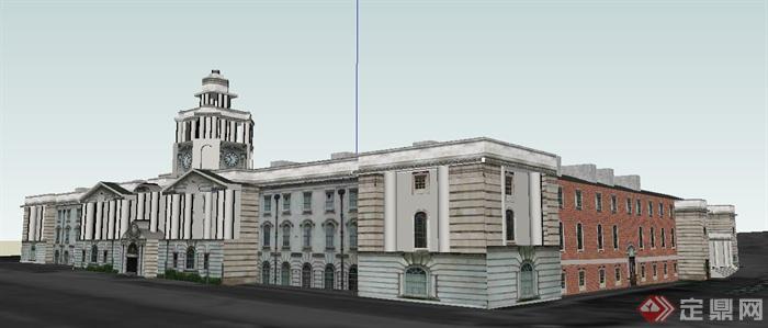 欧式风格办公市政厅建筑设计su模型