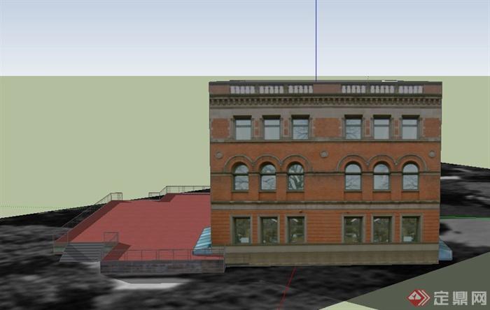 某欧式风格三层图书馆建筑设计su模型