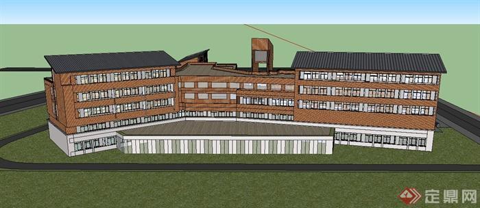 某小学三小学教学楼建筑方案设计(cad平面+su大连理工菱形v小学图片