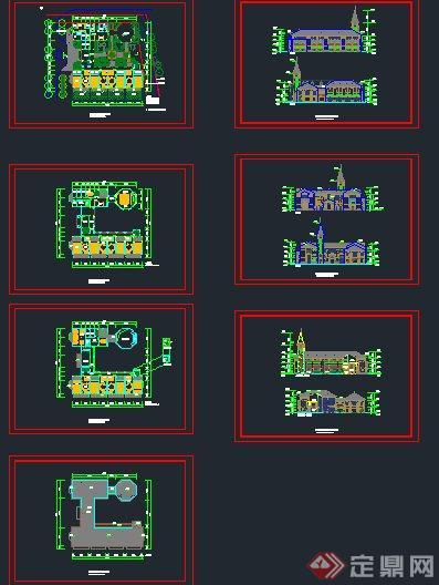 某三层欧式风格幼儿园建筑设计cad平立剖面图(含效果图)[原创]