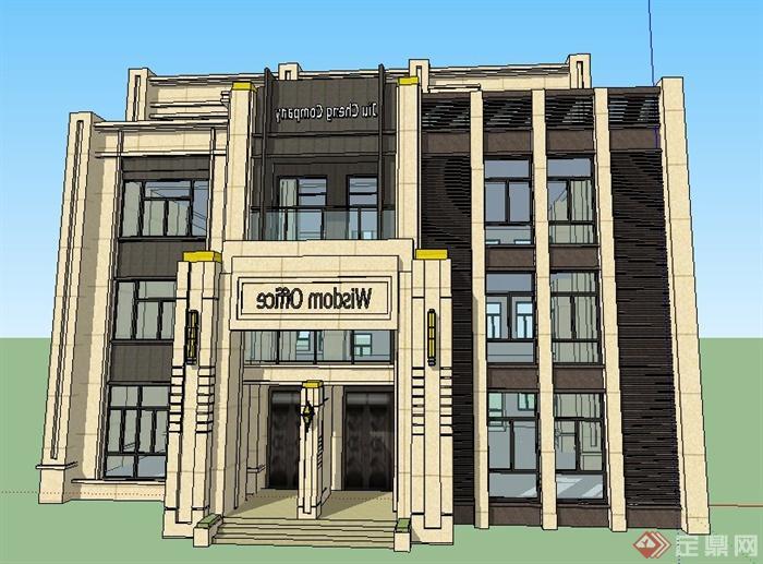 简约新古典四层办公楼建筑设计su模型办公室装修设计绿色图片