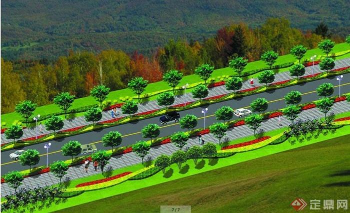 某城市道路景观设计平面及效果图