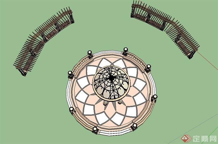 园林景观欧式园亭与木制廊架设计us模型