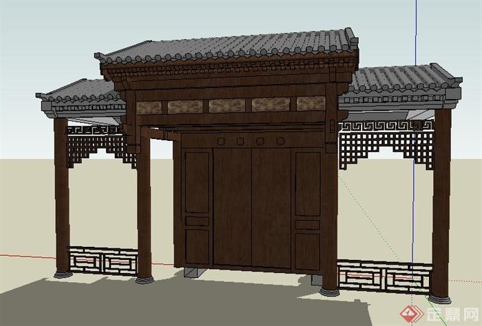 中式风格古建筑木制大门设计su模型