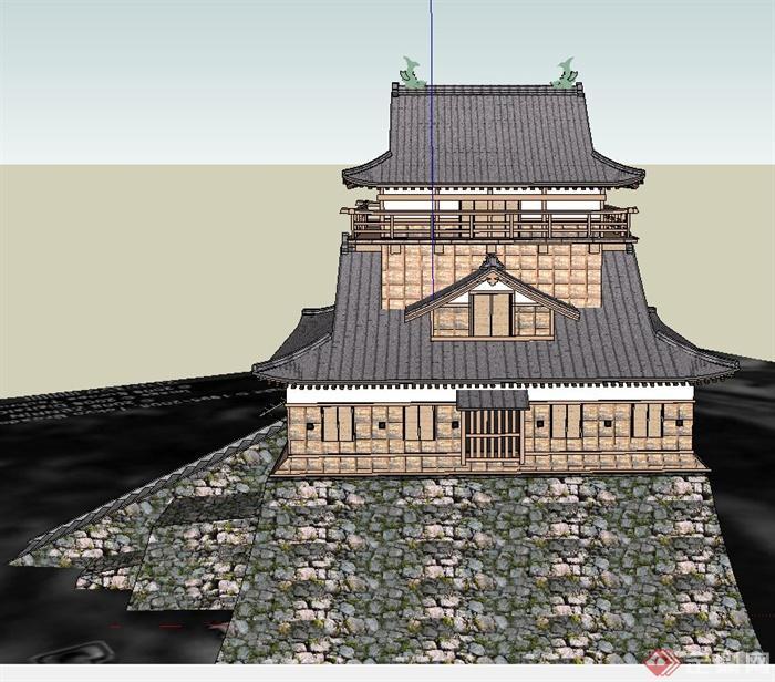 古典中式两层山地寺庙建筑设计su模型
