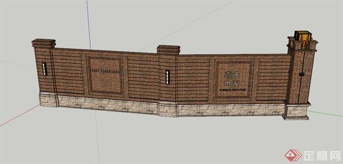 英式标志墙围墙设计su模型