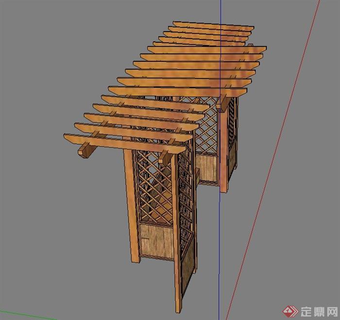 庭院景观木质座椅廊架设计su模型