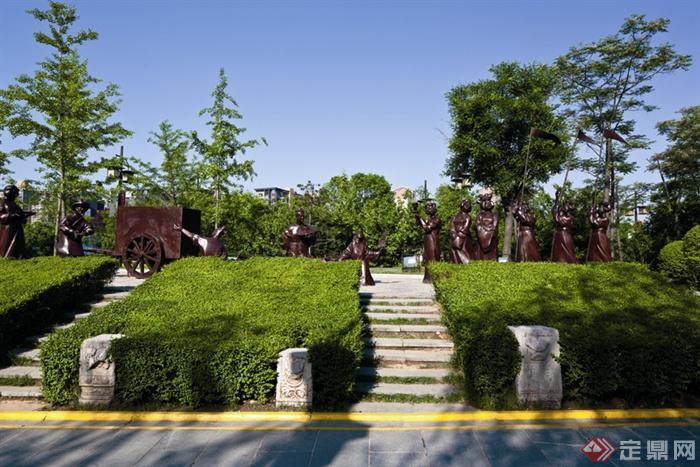 中式风格景观节点-灌木丛台阶景观柱雕塑小品-设计师图片
