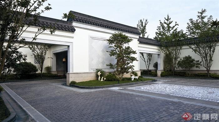中式风格景观实景-围墙影壁景墙照壁石材铺装-设计师