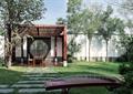 凉亭,古筝,草坪,汀步,围墙