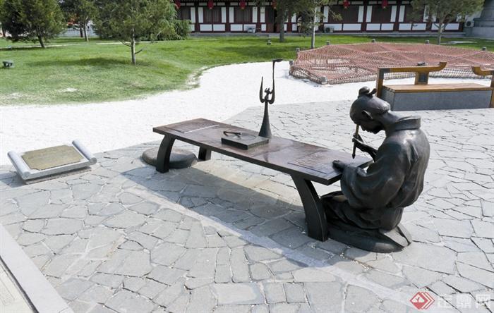 人物雕塑,标志,碎拼铺装,坐凳,景观小品